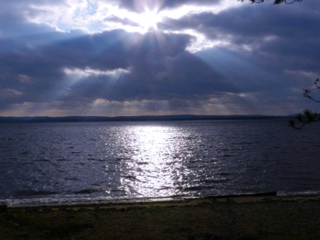 Lake Of Rays - Sun Rays, Sky, Clouds, Lake, Photography, Nature