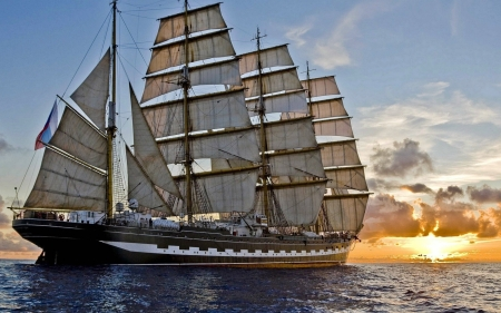 The Kruzenshtern at Sunset - boats, sunset, russian, tallship