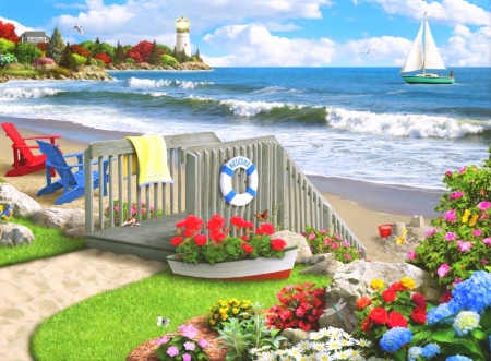 Beach Days - love four seasons, birds, butterflies, attractions in dreams, sea, paintings, paradise, beaches, summer, flowers, seaside, nature, butterfly designs, sailboats