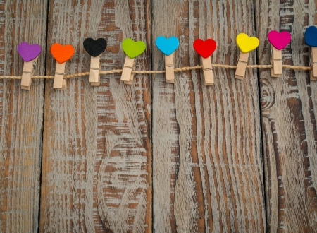 :-) - colorful, brown, heart, valentine, wood, card