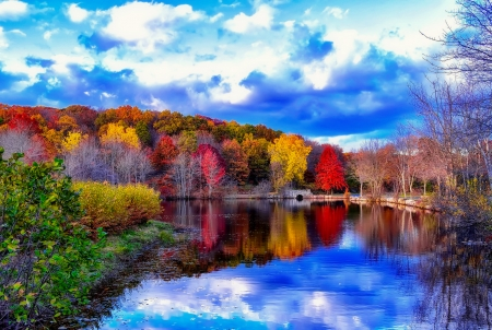 Autumn park - forest, colorful, fall, autumn, lovely, colors, park, trees, sky, clouds, lake, lover, island, reflection