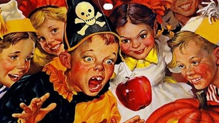 Halloween - Bobbing for Apples - costumes, holidays, halloween, apples