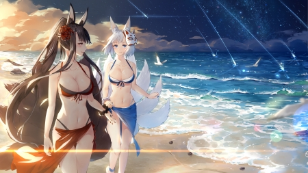 Foxgirls on the beach - swimsuit, tails, manga, maya g, sea, beach, vulpe, water, fox, anime, summer, foxgirl