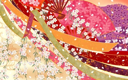 Hand fans, ribbons and petals - red, orange, ribbon, hand fan, texture, flower, petals, fan, skin, pink
