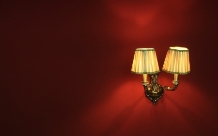Light - dark red, lamp, wall, light
