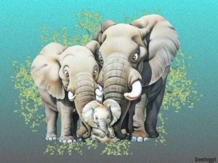 FAMILY OF THREE - ELEPHANT, FAMILY, THREE, IMAGE