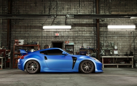 Nissan 370Z - cars, side view, blue cars, nissan, vehicles, Nissan 370Z