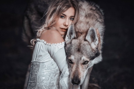 Beauty and the beast - beauty and the beast, girl, model, caine, white, woman, dog, animal