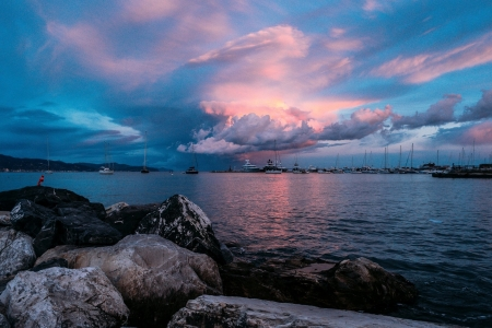 Boats in Ocean Twilight - Sea, Boats, Rocks, Nature, Oceans, Clouds, Twilight, Sky