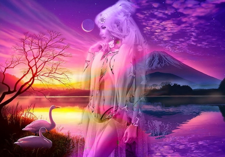 PINK FANTASY - FANTASY, VOLCANO, FEMALE, PINK, REFLECTION, BIRDS, CG, SKY