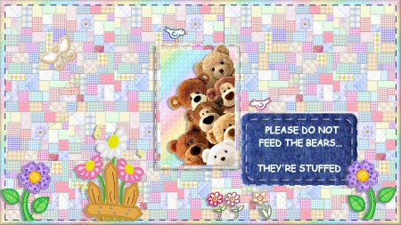 Fuzzywuzzies - teddy bears, text, quilt, pastels