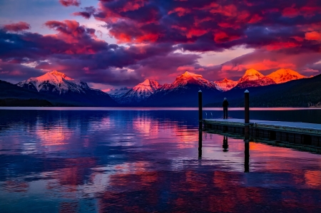 Lake MacDonald, Glacier National Park, Montana - pink and blue, water, pier, sunset, lake sunset, reflection, clouds, lake
