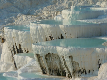 Lime Sinter Terrace, Pamukkale, Turkey - mineral, ancient, rock, thermals, pools, mountain, turquoise, calium, turkish, terraces, white