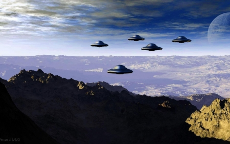ufo fleet - fleet, mountains, ufo, sky