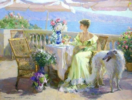 Lady with dog - luminos, caine, woman, terrace, girl, painting, konstantin razumov, lady, pictura, barzoi, dog
