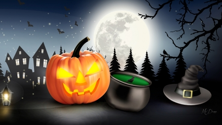 Halloween Pumpkin Town - bats, haunted house, trees, witch hat, jack-o-lantern, witches brew, October, pumpkin, full moon, Halloween