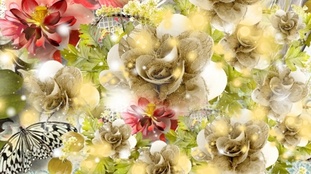 Flowers Butterfies & More - floral, collage, lace, shine, Firefox Persona theme, shimmer, flowers, ribbons