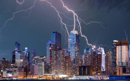 Lightning - NYC - architecture, forces of nature, lightning, new york city