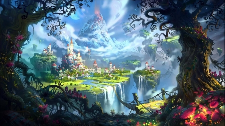 Fantasy - world, tree, fantasy, luminos, castle, volcano