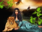 Fantasy Lady and Lion