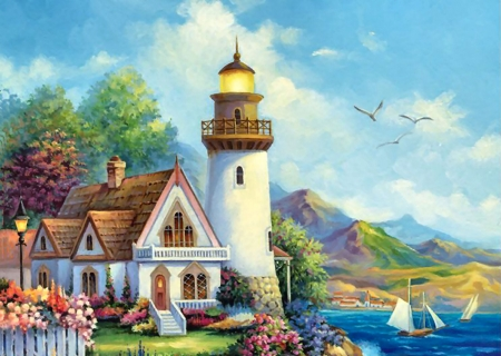 Beacon of Hope FC - architecture, art, beautiful, illustration, artwork, lighthouse, painting, wide screen, seascape, scenery