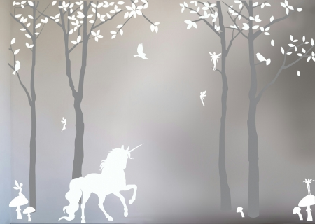 Mystical Forest - trees, leaves, fairies, unicorn