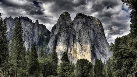Middle Cathedral Rock - National Park, Yosemite, scenery, landscape, photography, wide screen, California, beautiful, photo, USA, nature