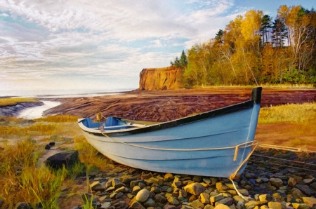 High and Dry - boat, stones, sky, clouds, cliff, coast, autumn