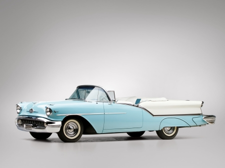 1957-Oldsmobile-Super-88-Convertible - Classic, Olds, GM, Lite Blue