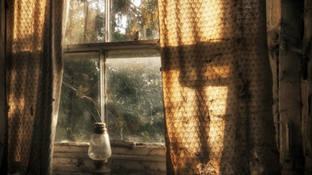 ღ Lamp ღ - lamp, window, view, curtains