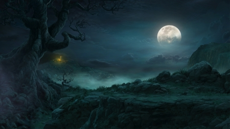 Super Moonlit Path - yellow, night, black, dark, moon, home, white, distance, super moon, blues, fog, grey, spooky