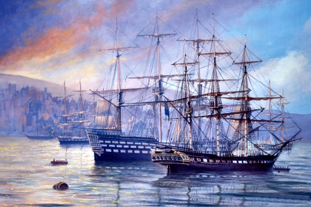 Frigate First Rate C - art, beautiful, illustration, artwork, painting, wide screen, seascape, scenery, sailboats