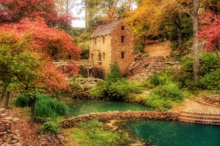 Old Mill at North Little Rock, Arkansas - pond, autumn, watermill, creek, trees