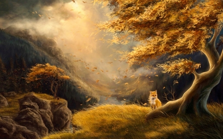 Beyond Fox Valley  - autumn, Forest, lovely, Lovely, browns, trees, outdoors, softness, windy, painting, Fox, sun rays, nature