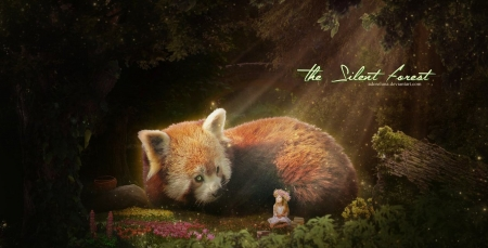 The silent forest - adoreluna, forest, art, luminos, animal, cute, red panda, fantasy, girl