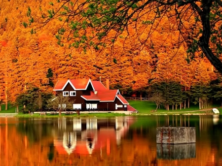 Autumn Lakeside House - red, forest, autumn, house, cottage, trees, lake, foliage, mirrored, nature, reflection