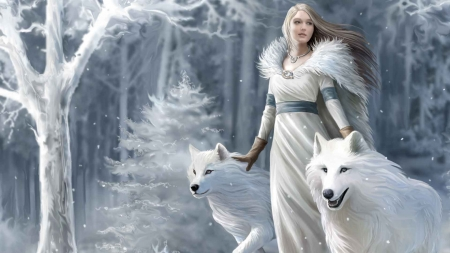 Winter guardian - forest, art, anne stokes, luminos, winter, fantasy, girl, lup, wolf, white, blue