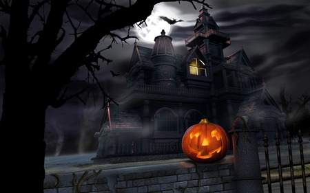Gloomy Halloween - castle, halloween, scary, abstract, dark, haunted house, pumpkin, ghostly, mansions, spooky, haunted, jack o lanterns, darkness, holidays, night