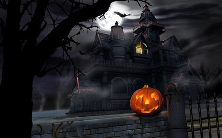 Gloomy Halloween - ghostly, night, castle, dark, scary, mansions, holidays, haunted house, haunted, jack o lanterns, pumpkin, abstract, darkness, spooky, halloween
