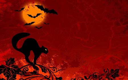 Halloween moon - bats, cat, halloween, red