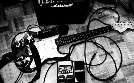 Guitar - stereo, rock, white black, guitar