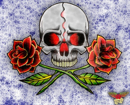 Skull Black Rose Clan Other Abstract Background
