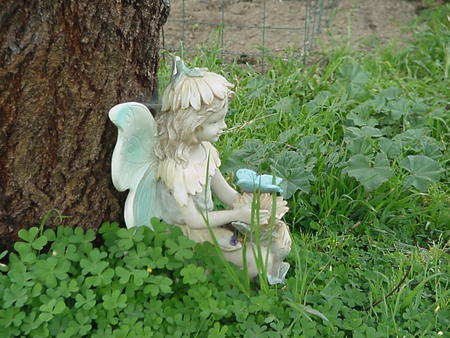 Fairy statue - clovers, green, statue, fairy