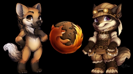 Steampunk Firefox - technology, vintage, science fiction, Firefox, steampunk, fox
