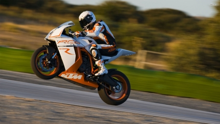 ktm 1190 rc8 - ktm, grass, rider, motorcycle