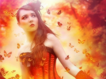 Autumn of Feeling - colorful, fall season, autumn, love four seasons, butterflies, attractions in dreams, creative pre-made, digital art, woman, leaves, fantasy, photomanipulation, weird things people wear, forests, butterfly designs