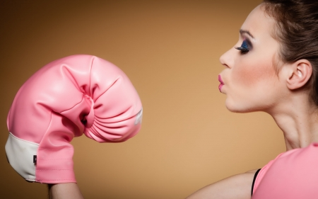 :) - glove, girl, model, funny, woman, pink, kiss