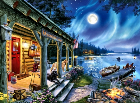 Moonlight Lodge F2C - art, lodge, moonlight, illustration, scenery, landscape, wide screen, beautiful, architecture, artwork, painting