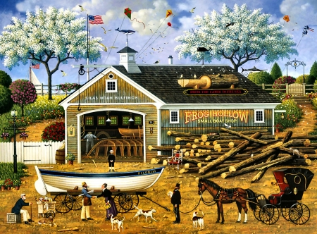 Dahlia Makes a Dory Deal - art, illustration, equine, scenery, boat, wide screen, beautiful, horse, artwork, painting