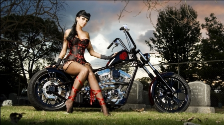 Powerful - wheels, motorbike, girl, brunette, chrome